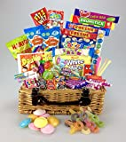 "Retro Sweet Hamper 12"" Real Wicker Basket Gift - Present Large Selection Flying Saucers, Chocolate Jazzles, White Mice, Sour Sweets, - Unique Gift -Birthday Mum Grandma Nan"