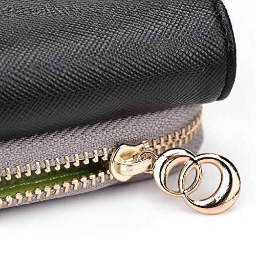 Kroo d'embrayage portefeuille avec dragonne et sangle bandoulière pour Panasonic T31/T40Smartphone Multicolore - Black and Blue Multicolore - Noir/gris