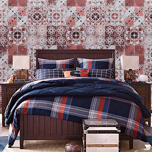 "2404 Moroccan Style Mosaic Wallpaper Rolls, Vinyl Tile Wallpaper Kitchen Livingroom Bathroom Bedroom Hotels Wall Decoration 20.8"" x 32.8ft"