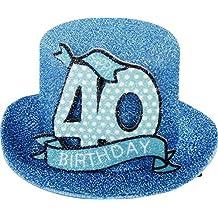 """Sombrero de cumpleaños, para fiestas, plateado, con mensaje """"Happy 40 Birthday"""" (12 x 11 x 6 cm)"""