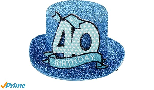 Birthday Hat With Clip 40 Party Decoration Fun Cylinder Turquoise Happy 40th 12 X 11 6 Cm Amazoncouk Kitchen Home