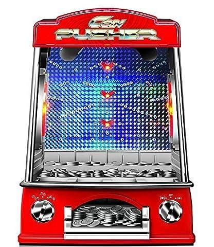 Garden Mile® Novelty Minature Coin Pusher Retro Fairground Arcade Game With Light & Sound Cascade Reflex Skill Game Penny Pusher