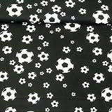 Baumwollstoff schwarz Fußball schwarz weiß 1,40m Breite