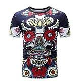 Herren Painted Design Rundkragen Freizeit Kurzarm T-Shirt(XXL,Blumen)