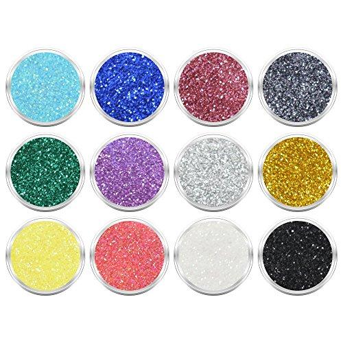 12 Döschen Nailart Glitzerpuder Glimmer Glitter Glitterstaub Set 002 in verschiedene irisierenden...