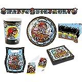 50 Teile Pirates Piraten Motto Party Set Kinder Geburtstag Seeräuber Deko Tisch Becher Teller Servietten Einladungskarten Dekoration