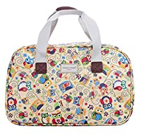 Oilcloth Holiday Travel Weekender Tote Bag Handbag Floral Owl Stripe Print (Large, Owl Wonderland)