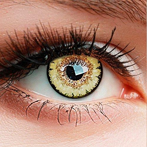 """Farbige Kontaktlinsen HEROES OF COSPLAY Circle Lenses\""""COLORWORLD\"""" Farblinsen für Cosplay, GUT DECKEND, INTENSIVE FARBEN, BEQUEM zu tragen (Braun-Gelb)"""