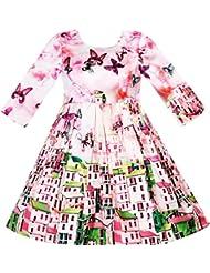 Sunny Fashion Robe Fille Satin Soie Papillon Ville Bâtiment Vue Rose