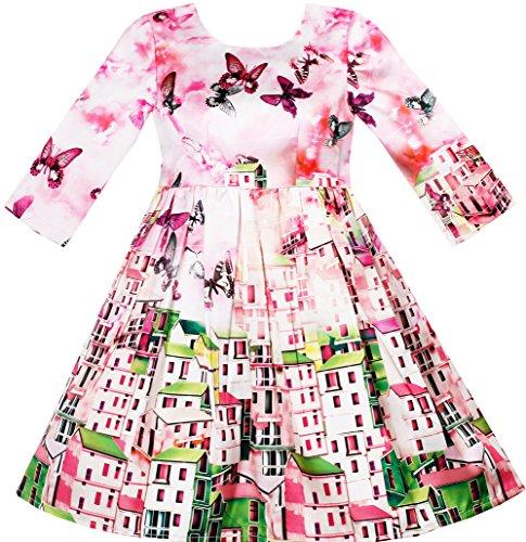 Sunboree Mädchen Kleid Satin Seide Schmetterling City Gebäude Ansicht Rosa Gr.110