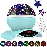 Amouhom Sternenhimmel Projektor Lampe mit Fernbedienung, LED Nachtlicht mit Wiederaufladbare Batterie 360 Drehen und Timing Schlaflicht für Kinders Schlafzimmer Beste Geschenke für Frauen(Blau)…