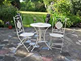 French Style 3 Pieces Bistro Set,1 Metal Table And 2 Chairs-Cream (GF01C+GF02C) - ASPECT - amazon.co.uk