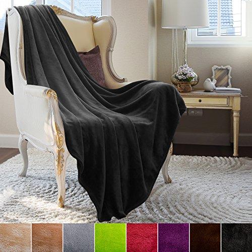 Couverture casa pura® Glory très doux | 2 tailles, 8 coloris | certifié Oeko-Tex, lavable | plaid canapé | matière souple | noir, 220x240cm