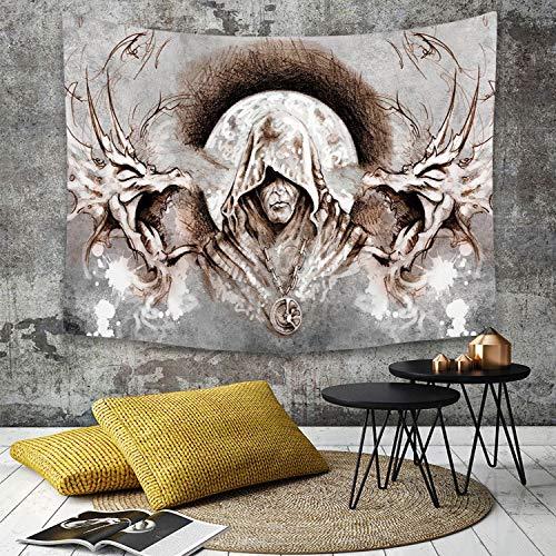 Tapestry, Wall Hanging, Drache, Mönch Hexe auf Ästen Hintergrund Gotik Mittelalter Magie...
