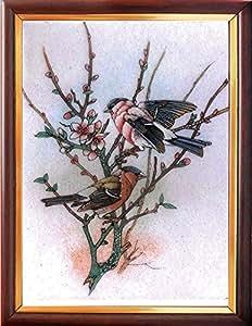 Élégant tableau des oiseaux assis sur arbre en pierre de gemme Tableaux