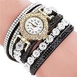 Sonnena Damen Armbanduhren, Mode Strass Armbanduhr Damenuhr Lederband Uhren Wrist Watch Frauen Edelstahl Analoge Quarz Armband Handgelenk Uhr Geburtstag Geschenk (Schwarz)