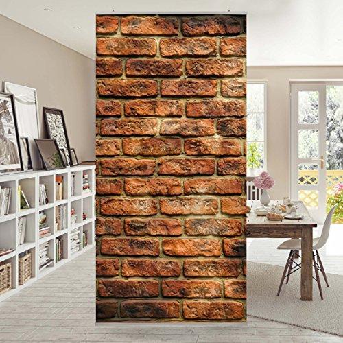 Flächenvorhang Set Bricks 250x120cm | Schiebegardine Schiebevorhang  Raumtrenner Vorhang Raumteiler Gardine Paravent Wandbild XXL Deko Dekor |  Größe HxB: ...