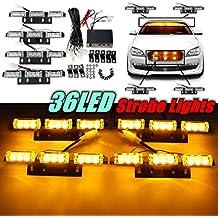 AUDEW 36 LED Lampeggianti luci di Emergenza Stroboscopiche Piattaforma Luce con Supporto Mascherina Ambra 12V 20W per Furgoni Auto Camion Autocarri