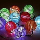 Sunjas Solar Lichterkette 20 LEDs 4,8 Meter Lampions Laterne Lichterkette Garten Innen- und Außenbereich warmweiß kaltweiß blau bunt für Party Weihnachten Outdoor (20 LEDs bunt)