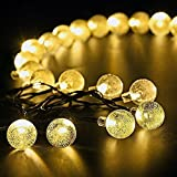 Ideapro Solar Powered Outdoor LED String Lights 21ft 30 LED Crystal Ball Fairy Lights for Garden Fence Path Wedding Bedroom Patio Stage Landscape Christmas Tree Thanksgiving Festival Party Decoration (Warm White)
