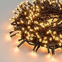 LuminalPark - Guirnalda de luces 48,5 m, 1200 LED blanco extra cálido con juegos de luces, cable verde, para Decoración Navideña y Exteriores