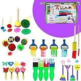 Harxin 30 Piezas Niños Cepillos de Pintura de Esponja Herramientas de Dibujo para Niños Pintura Temprana Artes DIY Artesanías