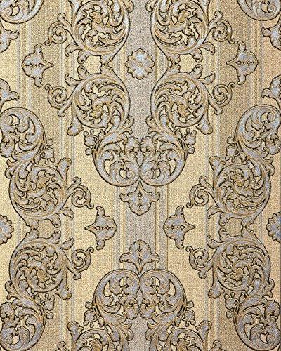Carta da parati barocca EDEM 580-31 Carta da parati in vinile espanso strutturata con aspetto tessile ed effetto metallico beige giallo-zafferano oro-perlato argento 5,33 m2