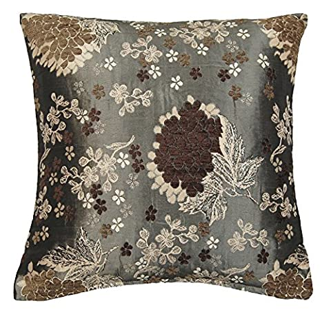 Geisha Woven Chenille Floral On Old Gold Colour Cushion Cover 17