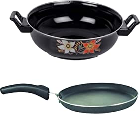 Beaming Anti Scratch/Non Stick/Hard Anodised Combo-2 in 1(1 Dosa Tawa, 1 Kadhai) Induction Bottom Cookware Set