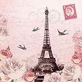 Tovaglioli a 3 veli per decoupage, 33x 33cm, motivo lettera da Parigi, per lavoretti e arte con tovaglioli, confezione da 4