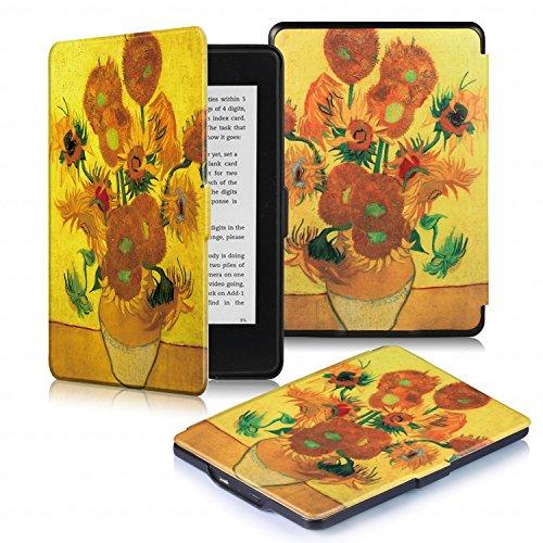 DHZ Kindle Paperwhite Custodia - Case Cover Custodia Amazon Nuovo Kindle Paperwhite 1/2/3 Adatto Tutte le versioni: 2012, 2013, 2014, 2015,2016 Nuovo 300 ppi),il girasole d'oro