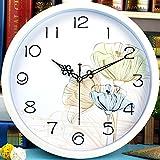 HUANGYAHUI 12 Pulgadas En La Habitación Del Reloj Reloj Lotus Blanco