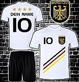 ElevenSports Deutschland Trikot + Hose mit GRATIS Wunschname + Nummer + Wappen Typ #D 2018 im EM/WM Weiss - Geschenke für Kinder,Jungen,Baby. Fußball T-Shirt personalisiert