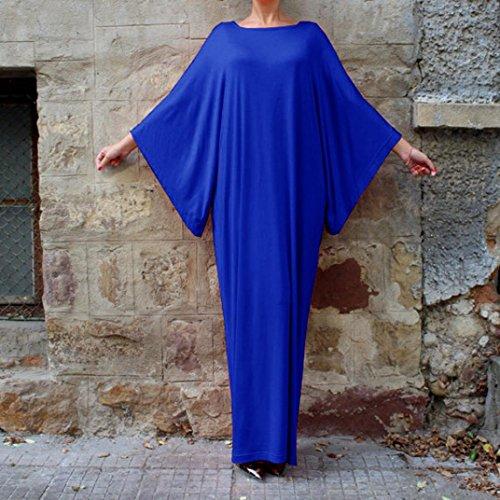 robe femme, Transer ® Femmes manches longues robe Casual couleur unie Ultra longue robe en vrac Bleu