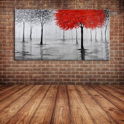 IPLST@ Pittura moderna della lama di paesaggio dell'albero olio su tela, dipinta a mano di grandi dimensioni murali Stickers murali di arte per la decorazione domestica -20x40inch (Nessuna cornice, senza