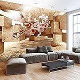 murando® Fototapete 3D 250x175 cm - Vlies Tapete - Moderne Wanddeko - Design Tapete - Wandtapete - Wand Dekoration - optische Täuschung Illusion Blumen Orchidee b-C-0029-a-d