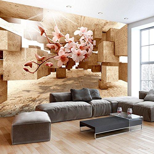 murando - Fototapete 3D 350x245 cm - Vlies Tapete - Moderne Wanddeko - Design Tapete - Wandtapete - Wand Dekoration - optische Täuschung Illusion Blumen Orchidee b-C-0029-a-d Wand Illusion