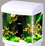 50L Medium Nano Starter Aquarium Fish Tank Tropical/Coldwater with Integrated LED Light - Free Next Day Delivery (50 LITRE, WHITE)