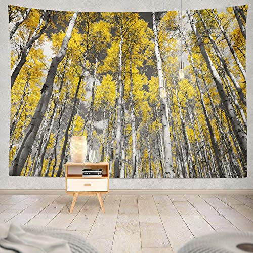 gthytjhv Tapisserie Decor Collection, Golden Yellow Forest Fall Trees Black and White Colorado Mountain Bedroom Living Room Dorm Wall Hanging Tapestry Polyester & Polyester Blend -