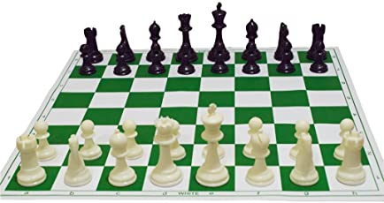 Divine Strings 17'' x 17'' Tournament Chess Vinyl Foldable Chess Game with Solid Plastic Pieces - Ideal for Professional Chess Players, Green
