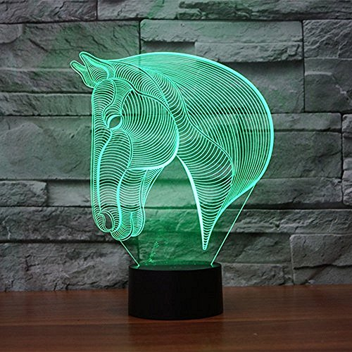Lampe 3D ILLUSION Lichter der Nacht, kingcoo verstellbar 7Farben LED Acryl Licht 3D Creative Berührungsschalter Stereo Visual Atmosphäre Tisch, Geschenk für Weihnachten Cheval 1 - 3