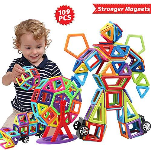 109PCS Costruzioni Magnetiche per Bambini Kit di Blocchi Magnetici-3D Set di Costruzione Blocchi di Struttura Magnetica per Magnetiche Regalo per Ragazzi e Ragazze a 3 4 5 6 7 8 Anni-Magnete Più Forte