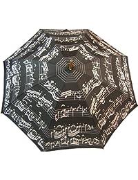 Musical Stick paraguas, notas de color blanco y negro