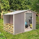 Concept-Usine Ventoux 5.31 m² : abri de jardin avec abri bûches en metal anti-corrosion gris