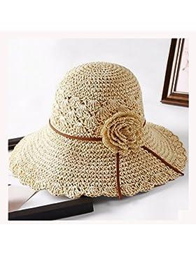 NAN Sombrero de paja hembra sombrero de sol de verano hembra plegable protección solar sombrero de sol flor flor...