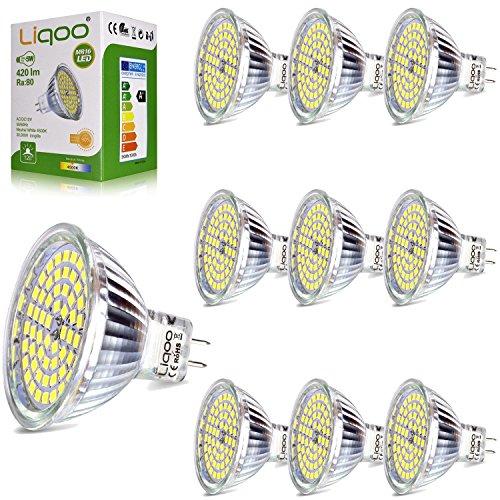 Liqoo 10x 5W Bombilla LED MR16 12V Blanco Neutro Natural 4500K 420Lm...