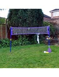 Super jardín de deportes de playa de juego de pelotas de tenis y raqueta de bádminton Net–un Must Have Juego para la escuela vacaciones o algunos–noche de verano diversión en el jardín.
