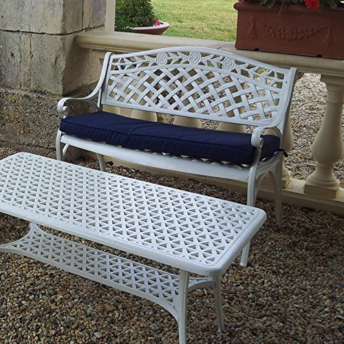 Lazy Susan – ROSE Gartenbank aus Aluminium, Weiß (Blaues Kissen) - 2