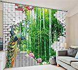 KKLL Tende Poliestere 3D Bambù Phoenix Paesaggio Tridimensionale Spazio visivo Blackout Rumore Riducendo pannelli drappeggi per camera da letto Decorazione domestica Tende decorate in vetro , wide 3.0x high 2.7