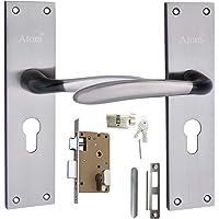 Atom Mortice Handle, Mortice Lock, Door Lock, Lock, Atom AL-56 C.Y Black Silver with OSK (One Side Knobe One Side Key) Lock,Mortise Lock,Door Lock